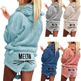 d6d6b4ae12e embroidered hooded sweatshirts Australia - Women Girls Plus Size Winter  Thicken Pajamas Set Cute Cat Meow