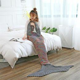2019 manta de cama de acrílico Mermaid Tail Blanket Acolchado de punto hecho a mano Mermaid Manta Mujer Niños Throw Bed Wrap Super Soft Sleeping Bed for Home manta de cama de acrílico baratos