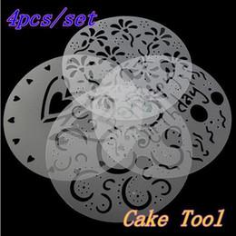 Spruzzo di muffa online-All'ingrosso- 4 pezzi fiori modello torta caffè muffa di glassa al cioccolato muffa di plastica spray ambientale / modello spray