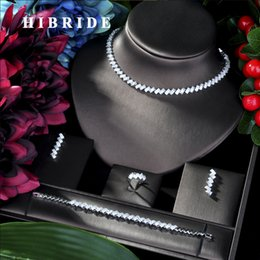 хрустальные свадебные свадебные африканские наборы Скидка HIBRIDE  Floral 4PCS DUBAI Jewelry Sets For Women Wedding Cubic Zircon Crystal CZ  African Bridal Jewelry Sets N-51