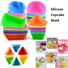 Jabones de la magdalena online-Molde de silicona Corazón Cupcake Soap Molde de pastel de silicona Muffin Hornear Antiadherente y resistente al calor Molde de pastel de silicona reutilizable