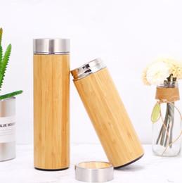 Filtro di bambù online-500 ml Bamboo Water Bottle Tazza In Acciaio Inox Con Tè Infusore Filtro Vuoto Isolati Bicchieri In Legno Tazza Diritta Tazza di Caffè GGA2361