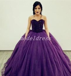 Major Beading Purple Ball Gown Quinceanera Dresses Sweet Heart Sweep Train Crystal Prom Party Gowns For Sweet 15 Vestidos De 15 Anos