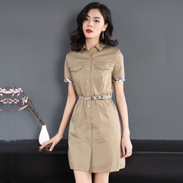 Vestido elástico de manga curta de algodão on-line-Vento Britânico Verão Novo Gola Flipped manga curta Pure Cotton Elastic Dress com Cinto