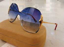 2020 style papillon 162 nouvelles lunettes de soleil pour les femmes Styliste UV400 Len Frameless Summer style Adumbral papillon Face design avec 162S cas style papillon pas cher