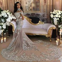 abiti da sposa arredati scollatura pura Sconti Cristalli Dubai arabo Plus Size Corte abiti da sposa d'argento Mermaid treno in rilievo Jewel maniche lunghe abito da sposa Abiti da sposa Abiti