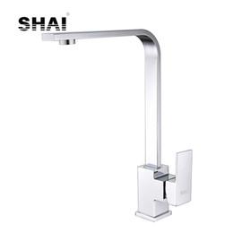 SHAI becco piatto rubinetto da cucina 360 gradi rotazione singola maniglia acqua calda fredda miscelatore cromato lucido spazzolato finitura SH3209 da