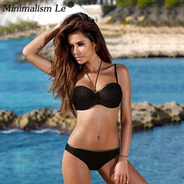 a5d904889b1ca Minimalism Le 2019 Sexy Bikini Set New Solid Bikinis Push Up Swimsuit Women  Halter Top Swimwear Bathing Suits Biquini XXL