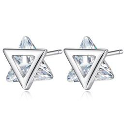 Dreieckige ohrringe online-Art und Weise 925 Silber Doppel Triangular Zircon-Bolzen-Ohrringe für Frauen-Dame-Party-Geschenke Anti-Allergie Art und Weise Schmuck