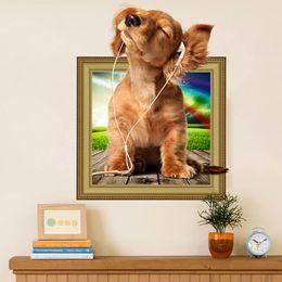 2019 adesivos de parede para vestiários Hot diy 3d filhote de cachorro cão adesivo de parede pvc cenário decoração home decor room decalques wall art papel de parede adesivos no novo