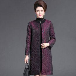 2020 фиолетовое весеннее пальто Весна Падение Мода женщин Элегантный фиолетовый зеленый цветочный узор с длинным рукавом пальто, осень 4xl 5xl Длинные пальто для женщин скидка фиолетовое весеннее пальто