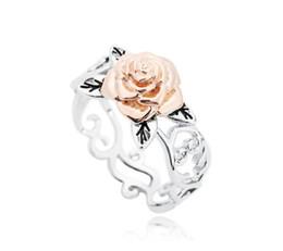 2018 nouvelle personnalité tempérament bicolore rose bague en alliage de mode sculpté rose bague décoration creuse boutique bijoux ? partir de fabricateur