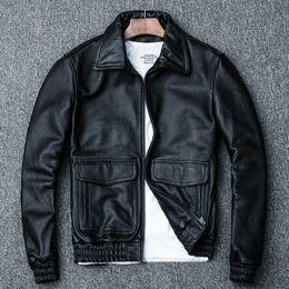 kuh lederjacken Rabatt Real-Kuh-Leder-Jacken Frühling und Herbst-echtes Leder-Jacken-Mann-Weinlese Rind Coat Plus Size Motorradjacke 1813 YY972
