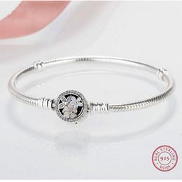 brazalete de tungsteno de las mujeres Rebajas Plata de ley 925 cerezo Blooms hebilla brazaletes pulseras para las mujeres fit bricolaje perlas originales pandoras joyería pulseira