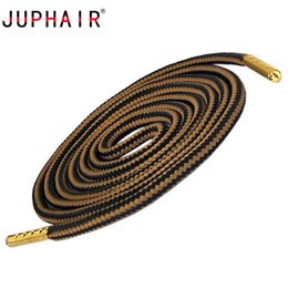 Кроссовки золотой металл онлайн-JUPHAIR Athletic Sport Round Shoelaces Gold Metal Tips Double Color Striped Non-slip Outdoor Hiking Sneaker Shoe Laces Strings