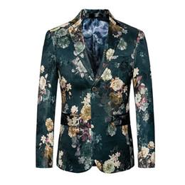 Новая мода мужчины костюм куртка цветок печати две кнопки зеленый блейзер участник ведущий платье Slim Fit стильный плюс 6XL от