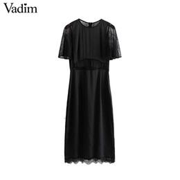 59406bd41a4a 2019 vestiti di disegno di linea della linea del merletto nero le donne  all ingrosso
