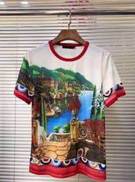 Il paesaggio diretto online-T-shirt di paesaggio della pittura a olio della nuova città della primavera e dell'estate degli anni '60, tutta la rete è esclusiva lavorazione di iniezione digitale diretta di avviamento