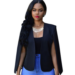Cooler umhang online-Fabala Blazer Revers Outwear Damen Cropped Cool Business Anzug Tops Mantel Herbst Unregelmäßig Schlank