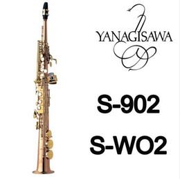 2020 instrumentos de sopro retas YANAGISAWA WO2 Soprano Hetero Cachimbo B Plano saxofone ouro Lacquer latão de alta Sax Qualidade com bocal Bolsa Music Instruments desconto instrumentos de sopro retas