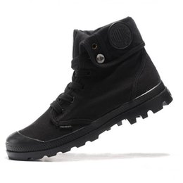 Sapatos de corrida em cunha on-line-Hot venda- Moda Canvas calçados casuais Palladium alta-top militar do exército Botas Outdoor Anti-Slip botas Utility Ferramental Running Shoes