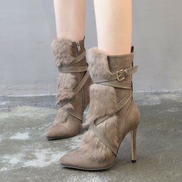 botas de peluche piernas Rebajas Delicate2019 Woman Crossing Decoration Cuero y piel Sharp Boot Plush High con bebé en botas de pierna
