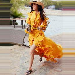 2019 vestidos amarillos sólidos Vestido de mujer Primavera Otoño Retro Sólido Con cuello en V Irregular Vestido amarillo Manga de mariposa Vestido largo y largo de costura Mujeres rebajas vestidos amarillos sólidos