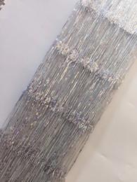 Encaje nigeriano de plata online-Tela de encaje africano francés plateado Guipur Cordón de algodón con lentejuelas Tul Tissu Nigerian Mesh India Encaje para vestido de novia ZX30752