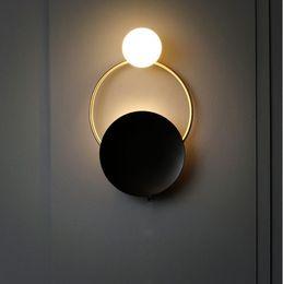 2019 luces de la noche del pasillo moderno Nordic Retro Bedside LED Lámpara de pared Art Foyer Foyer Fondo Dormitorio Restaurante Pasillo Aplique de pared Iluminación