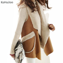 long suede vest Promo Codes - KoHuiJoo 2018 Autumn Winter Artificial Fur Vest Women Fashion Lapel Suede Faux Fur Waistcoat Long Coats Warm Jackets