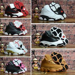 buy online e3d63 52d9c Nike Air Jordan 13 13s Bambini Bambini Scarpe da pallacanestro Wheat Hyper  Royal Toddler Sneaker Olive Green Bordeaux Infant 13 scarpe da ginnastica  con ...