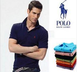 Polo de tenis online-2019 camiseta para hombre camisas polo hombres Desiger Polos hombres algodón camisa de manga corta ropa jerseys Golf tenis Polos envío de la gota ABZ105