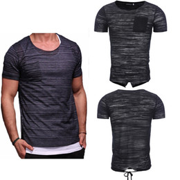 Voir les hommes t shirts en Ligne-2018 Nouveau T-shirts Little Fashion Voir Pure Black Through court T-shirt manches longues pour hommes Bandage Sweat T-shirts Of Men