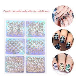 set di smalto francese Sconti 3D Nail Art Sticker Stamping Plates Template Shinning Hollow Adesivi francesi Manicure Stencil Tips Decalcomanie polacche per Natale 24pcs / set