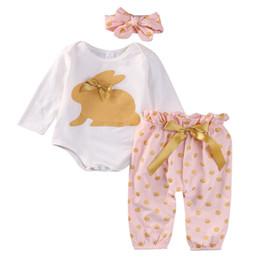 Manicotto lungo del coniglio del vestito online-Set di abbigliamento per bambina 1-3T Maglietta a maniche lunghe di coniglio estivo e pantaloni in cotone per bambini all'ingrosso