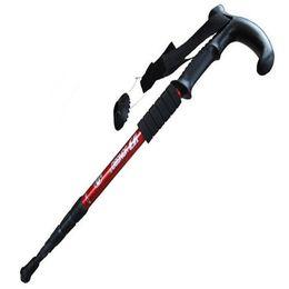 Trekking stick handles on-line-Trekking Pólos Quatro T alça de uso duplo ao ar livre alpinismo choque t-handle alpenstock caminhada ao ar livre caminhadas campingTP001