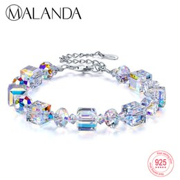 j pulseiras Desconto Malanda marca quadrado cristais de swarovski pulseiras bangles moda prata esterlina pulseiras pulseiras para as mulheres jóias presente j 190429