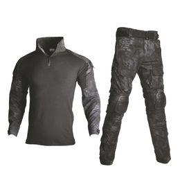 Trajes de combate negros online-Uniforme de combate táctico Camisa Multicam + Pantalón Codo Rodilleras Ropa del Ejército de EE. UU. Traje de camuflaje negro Ropa de caza