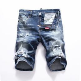Club jeans männer online-neue 2019 Männer Denim Tearing Shorts Jeans Nachtclub blau Baumwolle Mode Engen Sommer Herrenhosen A8066 PHILIPP PLEIN DSQUARED2 DSQ2 D2