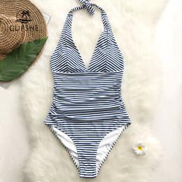 vendita all'ingrosso costume da bagno intero con scollo a V a righe blu scuro e bianco con scollo a V Monokini 2019 Girl Beach da maniche in metallo fornitori