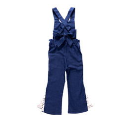 0315e145ceb China Girl Bib Pants Cowboy Jumpsuit Side Seam Lace Loose Trousers  Sleeveless Bow Bib Short Solid
