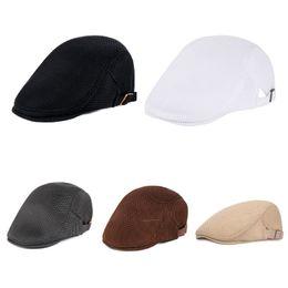 52a5139b7b429 Mens Breathable Mesh Summer Duckbill Hat Newsboy Beret Ivy Cap Cabbie Flat  Soft Driving Outdoor Adjustable THINKTHENDO