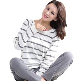 2019 Mujeres Rayas 100% Algodón Cartón Moda Mujeres Traje de dormir de manga larga 2 piezas Sexy Spring Home Lounge Regalo desde fabricantes