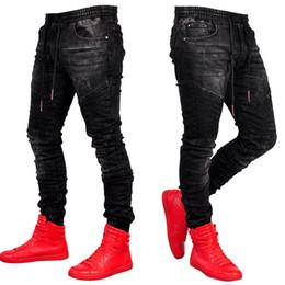 Mens Discothèque Porter Casual Jeans Taille Élastique pour Hommes Skinny Denim Noir Pantalon Mâle Slim Fit Déchiré Pantalon ? partir de fabricateur