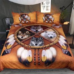 amerikanische tiere Rabatt BlessLiving Wölfe Dreamcatcher Bettwäsche Set Native American Indian Wolf Bettbezug Western Wild Animal Tribal 3D Bettdecke 3 stücke