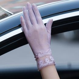 2019 нейлоновые спандексные перчатки Мода лето Женщина Кружево Солнцезащитных Перчаток женская Женская сексуальная Сплошной цветок Anti-уф Рукавица Полного Finger Девушка вождения перчатки 2019