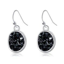 2020 pendientes de racimo para las mujeres Crystal Cluster Love Earrings Exquisite Silver Round Triángulo Irregular Forma de Piedra Natural Pendientes Mujeres Moda Cuelga para el regalo pendientes de racimo para las mujeres baratos