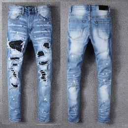 Jeans uomo pantaloni jeans strappati Uomo Jeans hip-hop Soldato uomo Denim dritto Biker dritto Ami Jeans moto con toppe diamantate da