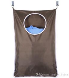 Ganchos para copos grandes on-line-Porta do agregado familiar Hanging Hamper Lavanderia Extra Grande Fixado Na Parede Lavanderia Saco Organizador com Aço Inoxidável e Ventosa Gancho 30 * 20 polegada