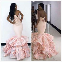 Canada Robes de soirée africaines sexy rose sirène 2019 dentelle chérie satin robes de bal Vintage élégantes robes de demoiselle d'honneur formelle Pageant Offre